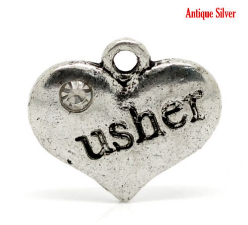 "5 Antique Silver Wedding Heart "" Usher "" Charm"
